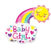 "30"" Jumbo Baby Girl Bright Happy Sun Balloon"