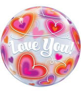 "22"" Love You Doodle Hearts Bubble Balloons"