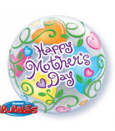 "22"" Mother&#39s Day Curly Hearts Plastic Bubble Balloons"
