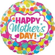 "18"" Happy Mother&#39s Day Dots & Hearts Balloon"