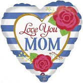 "18"" Blue Stripes Love You Mom Balloon"