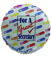 "9"" Airfill For a Great Secretary PaperClips Balloon"