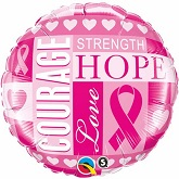 "18"" Breast Cancer Inspirations Packaged Mylar Balloon"