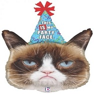 "36"" Foil Licensed Shape Grumpy Cat® Party Face Balloon"