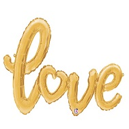 "47"" Gold Love Script Shape Balloon (Airfill Only)"