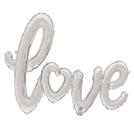 "47"" Silver Love Script Shape Balloon (Airfill Only)"
