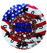 "9"" Airfill US Flag Rodeos Balloon"