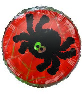 Black Spider Halloween Themed Airfill-Only Mylar Balloon