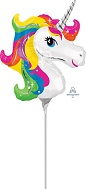 Airfill Only Mini Shape Unicorn Rainbow Balloon