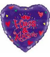 "9"" Hugs & Kisses Heart Airfill-Only Mylar Balloon"