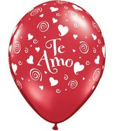 "11"" Te Amo Swirling Hearts Ruby Red (50 Count)"