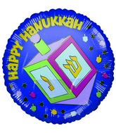 "4"" Airfill Only &#39Happy Hanukkah&#39 Dreidel Foil Balloon"