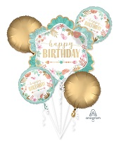 Bouquet Boho Birthday Girl Foil Balloon