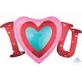 "33"" Satin Infused I Heart You SuperShape Foil Balloon"