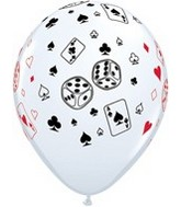 "11"" White Cards & Dice Latex Balloons 50 Pack"