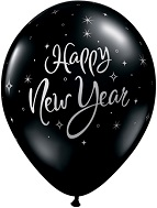 "11"" New Year Sparkles Onyx Black Latex (50 Count)"