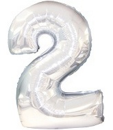 "50"" Silver Two Mylar Number Balloon"