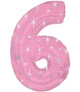 "38"" Pink Sparkle Six Number Balloon"