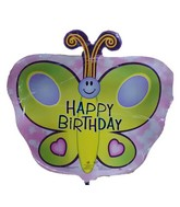 "18"" Happy Birthday Green Butterfly Pink Background Balloon"