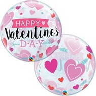 "22"" Bubble Balloon Valentine's Arrows and Hearts"