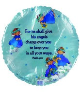 "18"" Psalm 9I:II Angels Blue Foil Balloon"