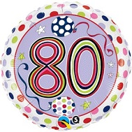 "18"" Dots & Stripes Age 80 Licensed Mylar Balloon"
