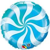 "18"" Round Candy Swirl Blue Balloons"