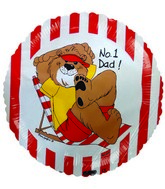 "9"" #1 Dad Bear Red Stripes Airfill Balloon"