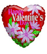 "18"" Happy Valentine&#39s Day White Daisy Mylar Balloon"