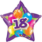 "20"" 18th Birthday Purple Shinning Star Balloon"
