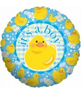 "18"" It&#39s a Boy Yellow Rubber Duck Foil Balloon"