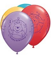 "11"" Assorted Latex Balloons Pooh 1st Birthday"