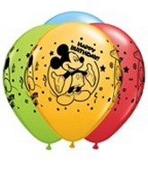 "11"" Assorted Latex Balloons Mickey Happy Birthday"