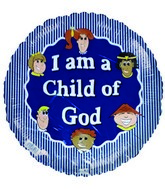 "18"" I am a Child of God Blue Striped Foil Balloon"