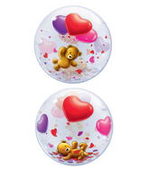 "22"" Teddy Bear's Floating Hearts Plastic Bubble Balloons"