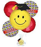 "37"" Jumbo Graduation Smiley Face Stuffed Toy Bouquet"