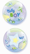 "22"" Baby Boy Airplanes Plastic Bubble Balloons"
