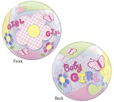 "22"" Baby Girl Butterflies Plastic Bubble Balloons"