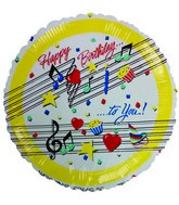 "9"" Airfill Happy Birthday Musical White Balloon"