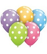 "11"" Assorted Latex Balloons Big Polka Dots 50 Count"