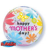 "22"" Mother&#39s Day Butterfly Floral Bubble Balloon"