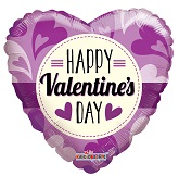 "18"" Happy Valentine&#39s Day Lilac Gellibean"