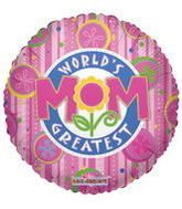 "9"" Airfill World'S Greatest Mom Floral Fun Balloon"