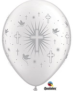 "11"" Cross & Doves Pearl White w/Silver Ink (50 ct.)"