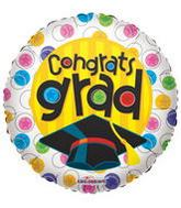 "9"" Airfill Congrats Grad With Circles Balloon"