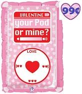 "24"" Valentine Your Pod Or Mine Balloon"