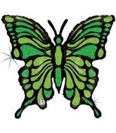 "33"" Holographic Lime Green Butterfly Balloon"