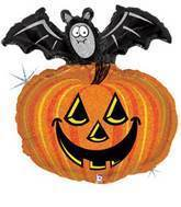 "28"" Pumpkin With Bat Supershape Balloon"
