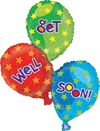 "40"" Get Well Balloon Trio Holographic"