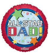 "9"" Airfill All Star Dad Red Balloon"